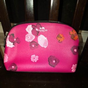 NEW Coach pink floral makeup cosmetic bag
